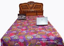 Indian Cotton Kantha Quilt Bedspread Bed Cover Throw Ethnic Fruit Print Coverlet