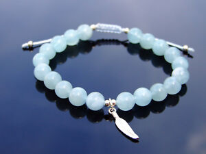 Aquamarine Sterling Silver Feather Natural Gemstone Bracelet 6-9'' Macrame