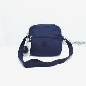 NWT Kipling HB6467 Keefe Shoulder Crossbody Bag Double Zip Nylon Ink Blue Tonal