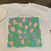 Boston Flowers Art T Shirt Mens Large Adult White Vintage 90s Portrait Painting