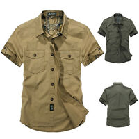 Men Short Sleeve Shirts Army Work Cargo Shirt Military Casual Cotton Shirt Tops