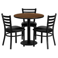 Restaurant Table Chairs 30'' Round Walnut  Laminate with 3 Ladder Back Metal