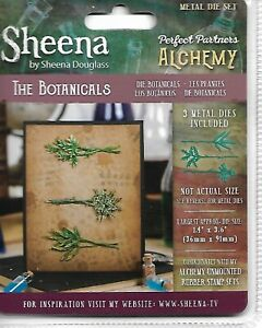 SHEENA DOUGLASS ALCHEMY Set of 3 Dies THE BOTANICALS Herbs, Plants  Discontinued