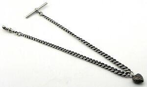Victorian Solid Silver Graduated Albert Pocket Watch Chain, Birmingham 1900.