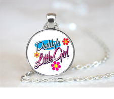 Daddy's Little Girl PENDANT NECKLACE Chain Glass Tibet Silver Jewellery