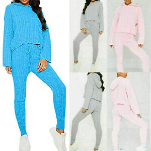 Womens Two Piece Cable Knitted Hooded Loungewear Top And Leggings Suit Set