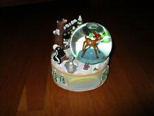 New Disney Store Bambi on Ice Winter Scene Musical Lullaby Bambi Turns Snowglobe