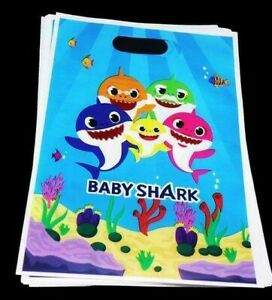 BABY SHARK LOLLY LOOT BAGS X 10 BIRTHDAY PARTY FAVOUR DECORATIONS SUPPLIES TREAT