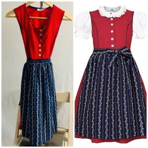 Girls Dirndl by Isar Trachten Size 10 Red Dress And Blue Apron Size 140
