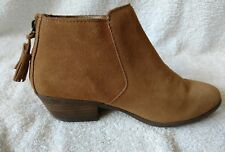 WOMEN'S BROWN SUEDE LEATHER ANKLE BOOTS SIZE 6.5M BACK ZIP CLOSURE W/ TASSELS