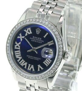 Rolex Men's 36mm Watch Datejust Stainless Steel Blue Roman Dial Diamond Bezel