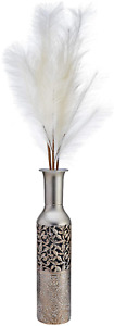 Metal Vase Decorative Silver Embossed Home Living Room Floor Table Desk 17 inch