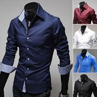 Men's Luxury Stylish Casual Dress Shirt Slim Fit T-Shirts Formal Long Sleeve US