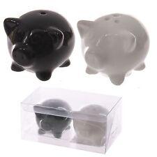 Black and white Pig Piggy Animal Salt and pepper cruet set  pigs pair