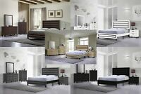 5Pc Wood Panel Bedroom Set, Queen Size Bed, Dresser, Mirror, Night Stand, Chest