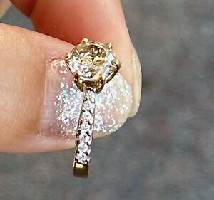 1.14CT Natural Diamond Solitaire Ring 0.1 Shoulder Diamonds