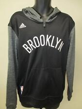New Brooklyn Nets Mens Size M Medium Adidas Black Full-Zip Hoodie MSRP $80