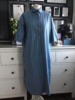 Vintage Dress 14 16 18 20 Angela Gore Blue Stripe Shirt Midi  Scandi Oversize