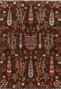 Vegetable Dye Tribal Super Kazak Oriental Area Rug Hand-knotted DARK BROWN 5'x7'
