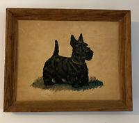 Vintage Painting Scottie Dog In Grass By Ole Larsen Framed Signed