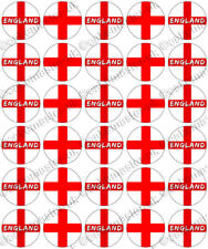 30 x England Football Flag Edible Rice Wafer Paper Cupcake Toppers