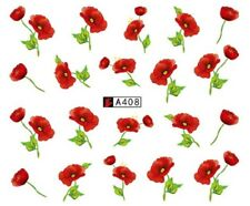 Nail Art Water Decals Full Wraps Remembrance Poppy Armistice Day Flowers (A408)