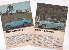 Two 1966 DATSUN 1300 BLUEBIRD Small Format Australian Ads Readers Digest