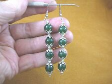 ee404-48) 10 mm Green Jade Canada gemstone 4 bead + silver beads dangle earrings