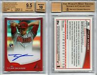 TYLER SKAGGS RC AUTO 2013 TOPPS CHROME RED REFRACTOR #'d /25 BGS 9.5/10