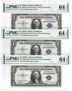 "1935A $1 SILVER CERTIFICATES, 3 CONSECUTIVE PMG GEM UNCIRCULATED 64 EPQ, ""MULES"""