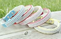 Dog Collars Bling Pug Pink Blue Puppy Cluster Cute XS Small Tiny Diamante Show