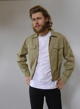 Vintage retro true 70s S military khaki short cotton jacket mens excellent