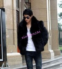 Mens Winter Faux Leather  Fur Coat Furry Short Jacket Thicken Parka White Black