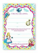 Alice In Wonderland Brights LARGE Invitations - 10 Invitations + 10 Envelopes