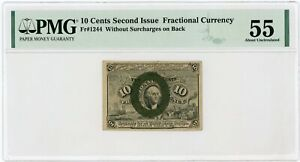2nd Issue Fr.1244 10c United States Fractional Currency Note - PMG AU 55