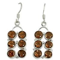 Brown Smoky Topaz 925 Sterling Silver Dangle Earrings Jewelry D10011