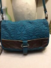 Fossil Keyper handbag teal nylon messenger/laptop case/baby bag