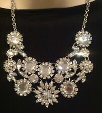 "CHARMING CHARLIE RSVP VINTAGE LOOK FAUX CRYSTAL FLOWER 16"" NECKLACE-$30-NWT!"
