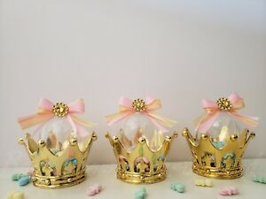 12 Princess Gold Fillable crowns Baby Shower Its a Girl Favors Prizes Decoration