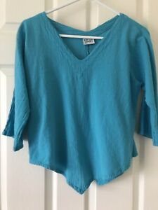 Oh My Gauze Top, Turquoise Cotton, V-Neck, 3/4 Sleeve, Size 1 S/M
