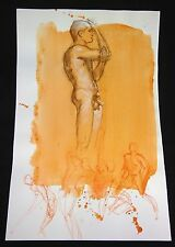 Hawaii Conte Color Wash Drawing Painting Male Nude by Snowden Hodges (Sho)