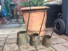 Set Of Three Vintage Brass & Copper Cider Ladel Measures
