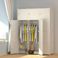 12 Cubes Wooden Pattern Portable Wardrobe Closet for Hanging Clothes Organizer