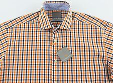 Men's THOMAS DEAN White Orange Black Plaid Shirt Large L NEW NWT $110