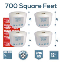 """Bubble Cushioning 700 ft x 12"""" - Perf. Every 12"""" - 3/16"""" & 10 fragile stickers"""