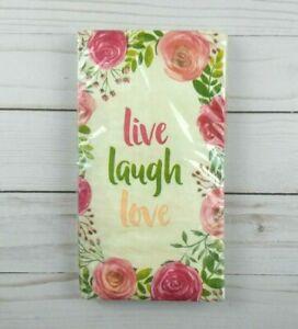 Paper Dinner Napkins Floral Live Laugh Love Guest Towels Party 16 Count