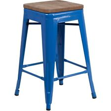 "Flash Furniture 24"" Backless Blue Metal Counter Ht. Stool - CH-31320-24-BL-WD-GG"