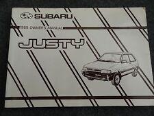 1989 Subaru Justy Owners Manual