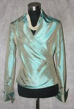 Etcetera Jacket 2 Green Evening Silk MOB Social Occasion Dress Faux Wrap Top S