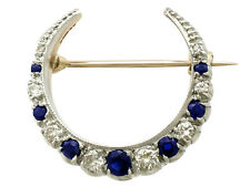 0.38 ct Sapphire 0.50 ct Diamond 9Carat Yellow Gold Crescent Brooch - Vintage